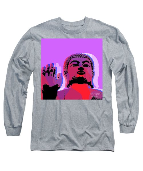 Long Sleeve T-Shirt featuring the digital art Buddha Pop Art - Warhol Style by Jean luc Comperat