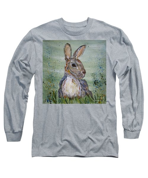 Long Sleeve T-Shirt featuring the painting Bunny Rabbit by Ella Kaye Dickey