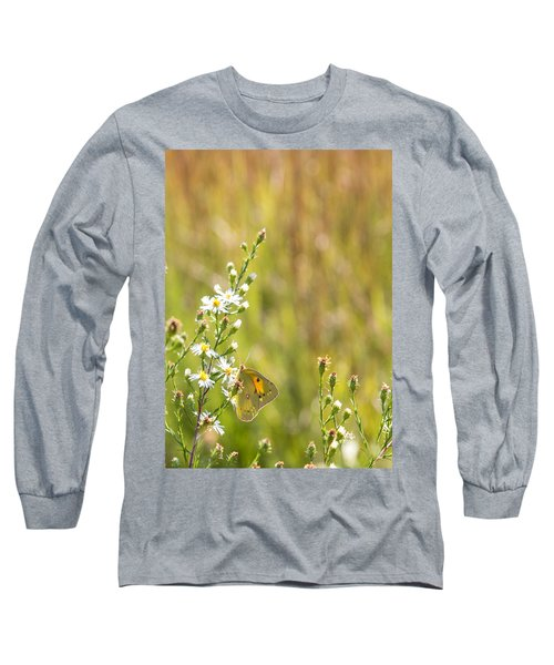 Butterfly In A Field Of Flowers Long Sleeve T-Shirt