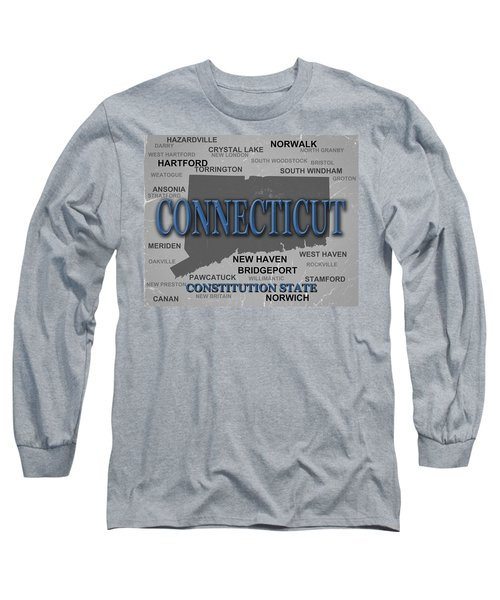 Connecticut State Pride Map Silhouette  Long Sleeve T-Shirt
