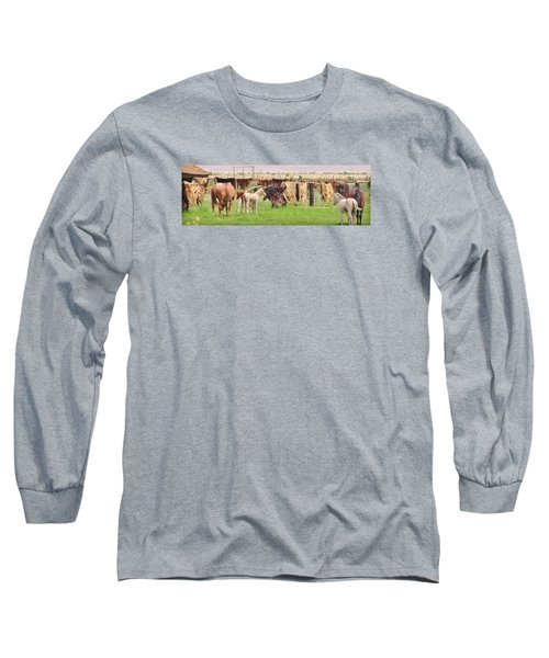 Long Sleeve T-Shirt featuring the photograph Cow Hides by Marilyn Diaz