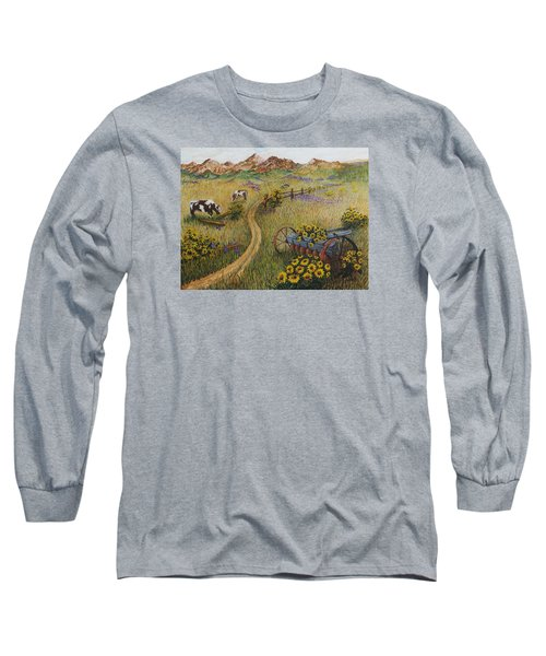 Cows Grazing Long Sleeve T-Shirt by Katherine Young-Beck