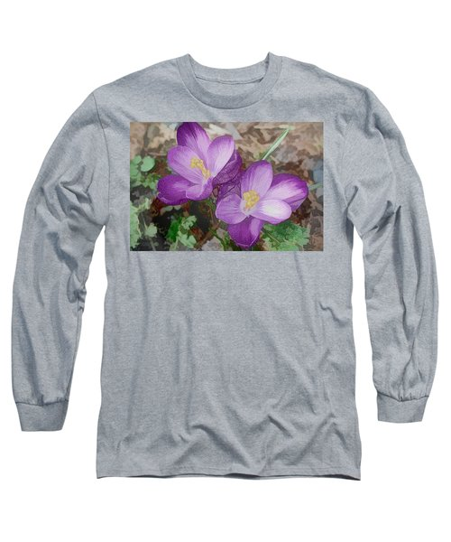 Crocus  Long Sleeve T-Shirt by Bonnie Willis