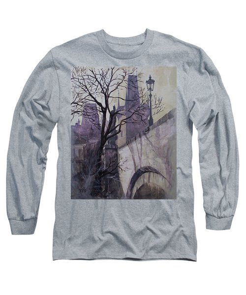 Long Sleeve T-Shirt featuring the painting Dusk At The Charles Bridge by Marina Gnetetsky