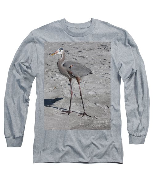 Long Sleeve T-Shirt featuring the photograph Great Blue Heron On The Beach by Christiane Schulze Art And Photography