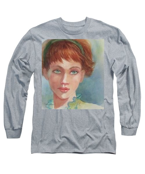 Green Eyes Long Sleeve T-Shirt by Marilyn Jacobson