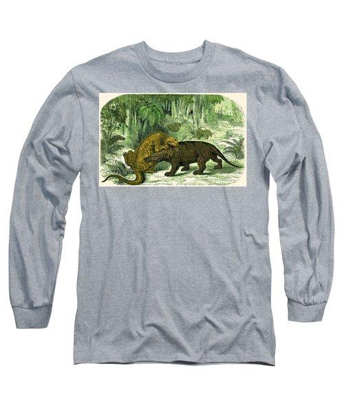Iguanodon Biting Megalosaurus Long Sleeve T-Shirt