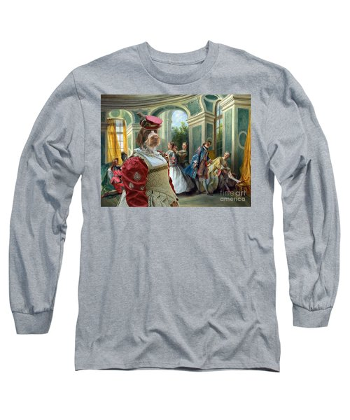 Korthals Pointing Griffon Art Canvas Print  Long Sleeve T-Shirt by Sandra Sij