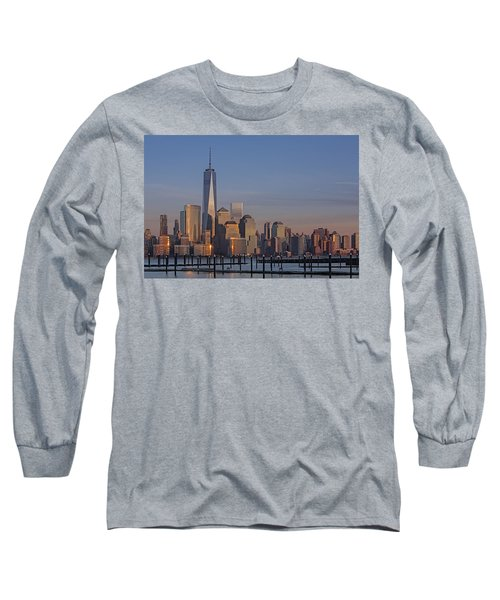 Lower Manhattan Skyline Long Sleeve T-Shirt by Susan Candelario