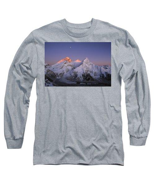 Moon Over Mount Everest Summit Long Sleeve T-Shirt