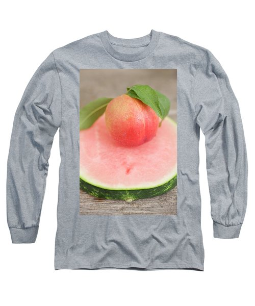 Nectarine With Leaves On Slice Of Watermelon Long Sleeve T-Shirt