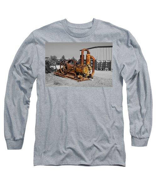 Retired Petroleum Pump Long Sleeve T-Shirt by Richard J Cassato