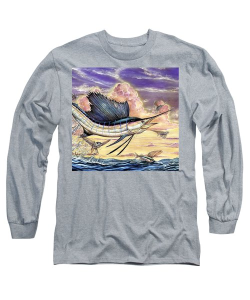Sailfish And Flying Fish In The Sunset Long Sleeve T-Shirt