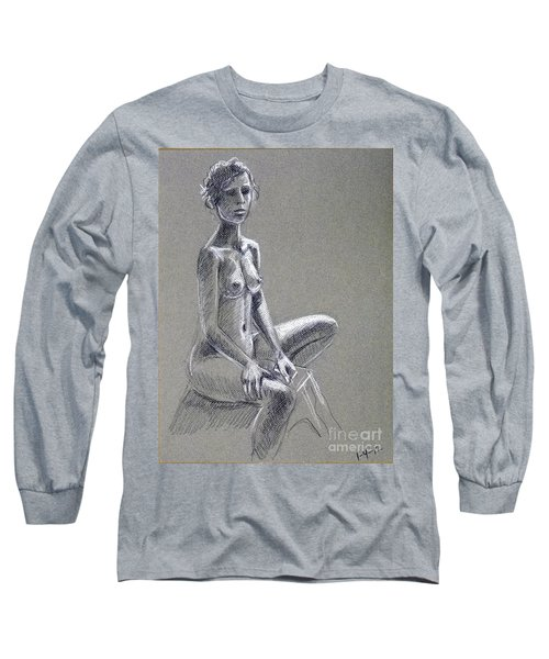Seated Female Model Long Sleeve T-Shirt