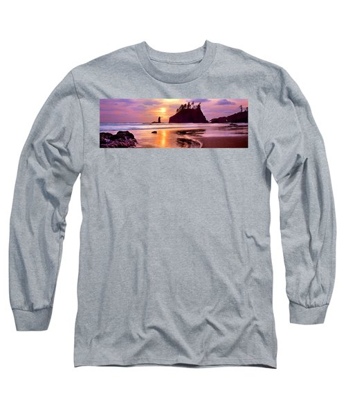 Silhouette Of Sea Stacks At Sunset Long Sleeve T-Shirt
