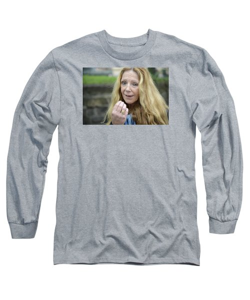 Long Sleeve T-Shirt featuring the photograph Street People - A Touch Of Humanity 1 by Teo SITCHET-KANDA
