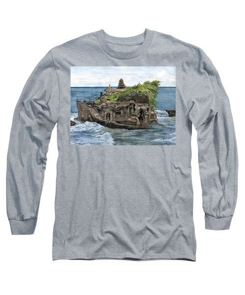 Long Sleeve T-Shirt featuring the painting Tanah Lot Temple Bali Indonesia by Melly Terpening