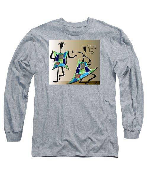 Long Sleeve T-Shirt featuring the digital art The Dancers by Iris Gelbart