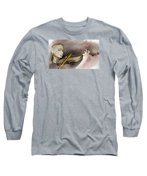 Long Sleeve T-Shirt featuring the painting The Violin by Allison Ashton