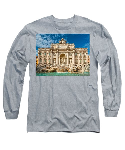 The Trevi Fountain - Rome Long Sleeve T-Shirt by Luciano Mortula