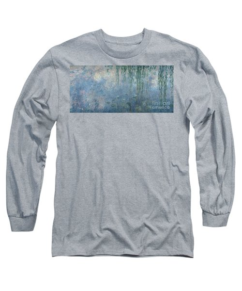 Waterlilies Morning With Weeping Willows Long Sleeve T-Shirt