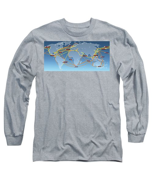 World Shipping Routes Map Long Sleeve T-Shirt