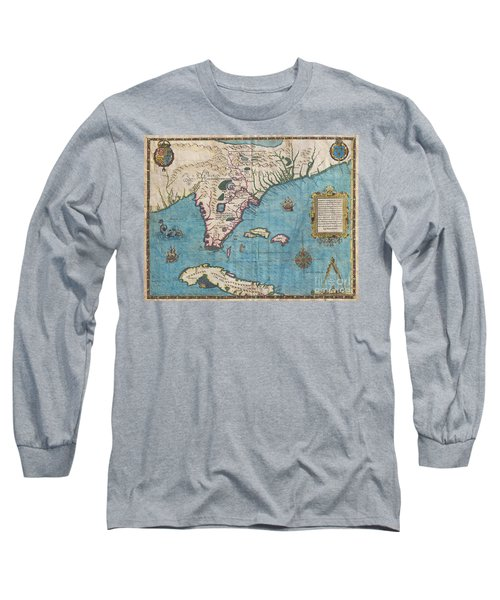 1591 De Bry And Le Moyne Map Of Florida And Cuba Long Sleeve T-Shirt
