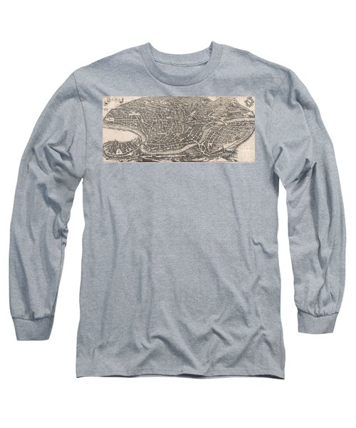 1652 Merian Panoramic View Or Map Of Rome Italy Long Sleeve T-Shirt