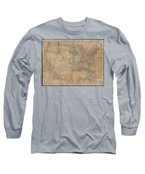 1839 Burr Wall Map Of The United States  Long Sleeve T-Shirt