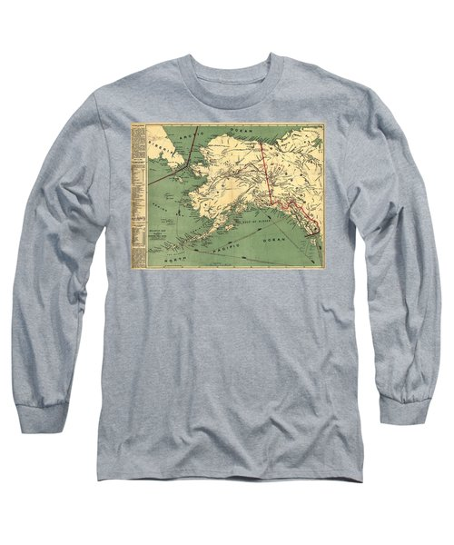Long Sleeve T-Shirt featuring the photograph 1897 Map Of Alaska by Charles Beeler