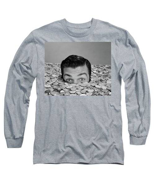 1950s 1960s Funny Man Buried Up To Eyes Long Sleeve T-Shirt