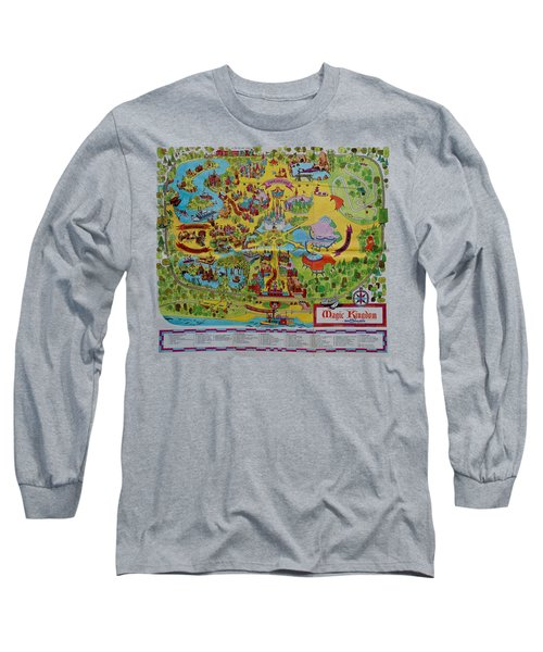 1971 Original Map Of The Magic Kingdom Long Sleeve T-Shirt
