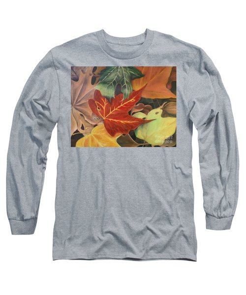 Autumn Leaves In Layers Long Sleeve T-Shirt by Christy Saunders Church