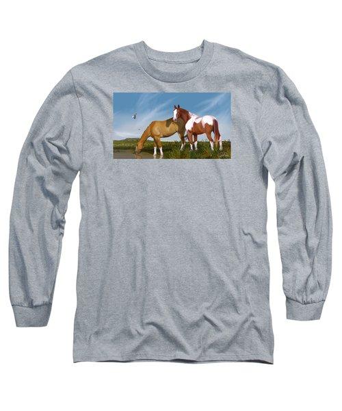 Destiny On Buffalo Plateau Long Sleeve T-Shirt by Kate Black