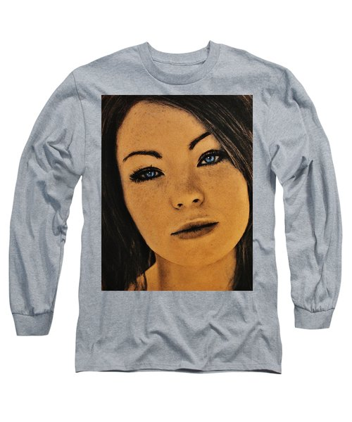 Long Sleeve T-Shirt featuring the drawing Emma by Michael Cross