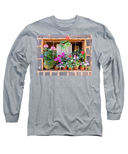 Flowers In A Mexican Window Long Sleeve T-Shirt