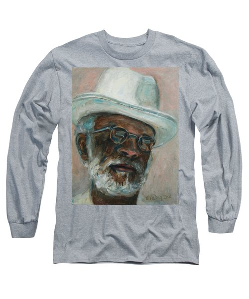 Gray Beard Under White Hat Long Sleeve T-Shirt
