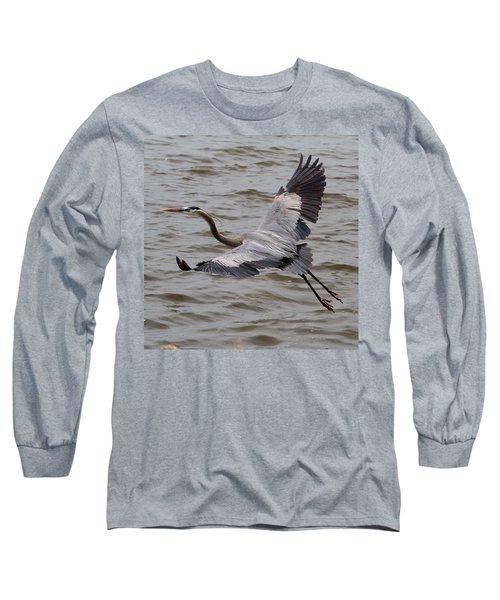 Heron In Flight. Long Sleeve T-Shirt