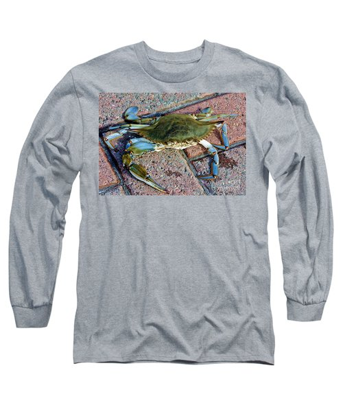 Long Sleeve T-Shirt featuring the photograph Hudson River Crab by Lilliana Mendez