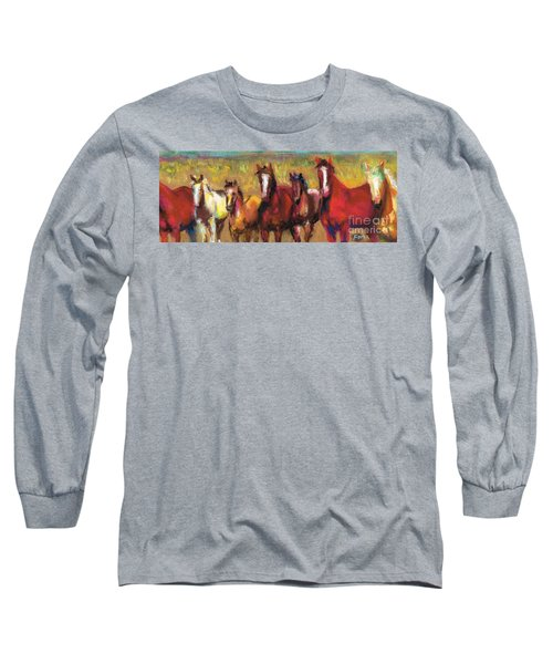 Mares And Foals Long Sleeve T-Shirt by Frances Marino