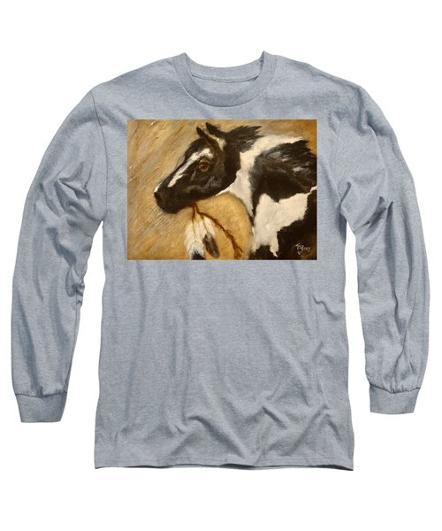 Long Sleeve T-Shirt featuring the painting Oxbow's Medicine Man by Barbie Batson
