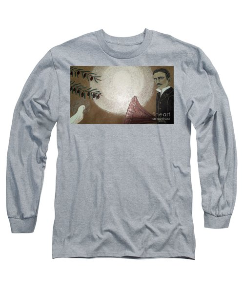 Long Sleeve T-Shirt featuring the painting Tesla And White Dove by Jasna Gopic