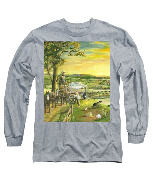 Long Sleeve T-Shirt featuring the painting The Farm Boy And The Roads That Connect Us by Mary Ellen Anderson