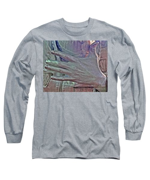 Long Sleeve T-Shirt featuring the photograph Tin Man Hand by Lilliana Mendez