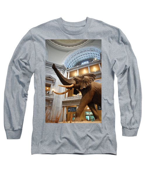 Bull Elephant In Natural History Rotunda Long Sleeve T-Shirt