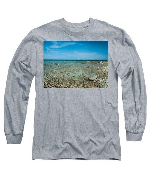 Mackinac Bridge Long Sleeve T-Shirt by Larry Carr