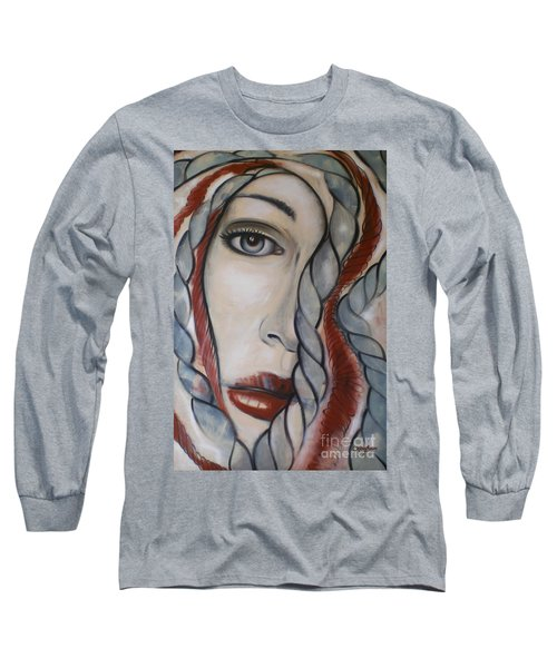Long Sleeve T-Shirt featuring the painting Melancholy 090409 by Selena Boron