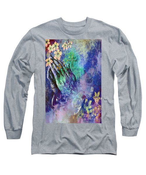Long Sleeve T-Shirt featuring the painting Praying Hands Flowers And Cross by Annie Zeno