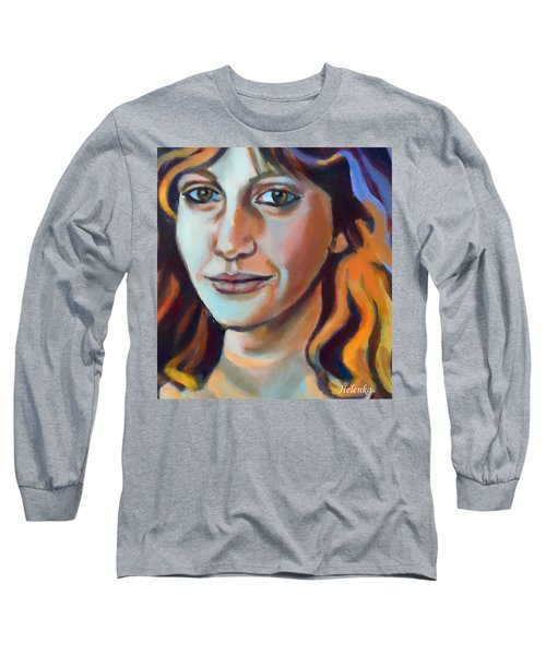Long Sleeve T-Shirt featuring the painting Self Portrait  by Helena Wierzbicki
