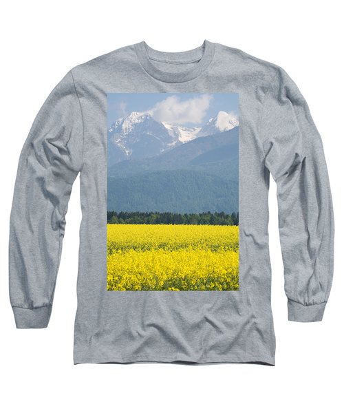 rapeseed field in Brnik with Kamnik Alps in the background Long Sleeve T-Shirt